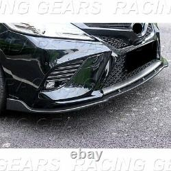 Fit 2018-2020 Toyota Camry Real Carbon Fiber Front Bumper Body Kit Spoiler Lip