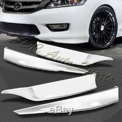 For 13-15 Accord 4-DR HFP-Style Painted White Front+Rear Bumper Spoiler Lip 4pc
