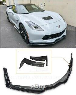 For 14-19 Corvette C7 Z06 Stage 3 GLOSSY BLACK Front Lip & Extension Winglets