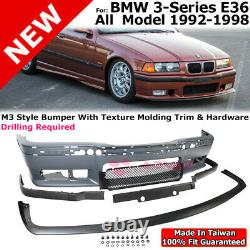 Front Bumper Cover Front Lip M3 Style For 92-98 BMW 3 Series E36 Lower Spoiler